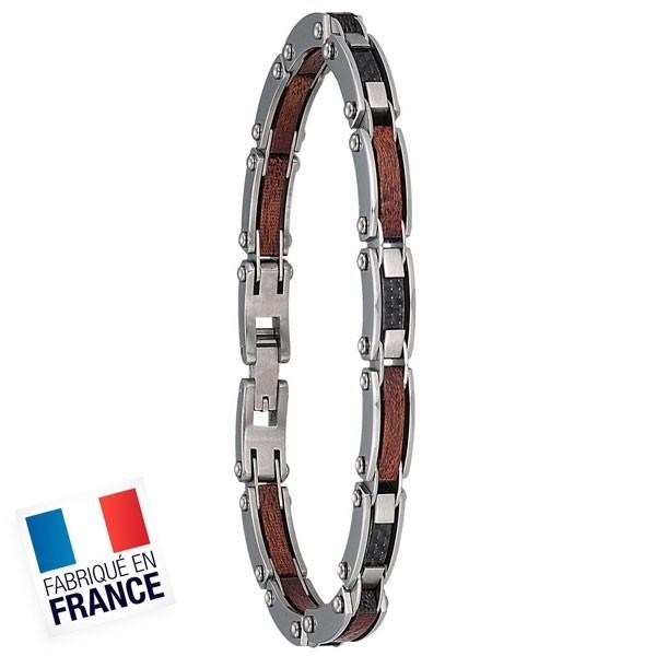 Bracelet Jourdan Homme - Acier bois et carbone