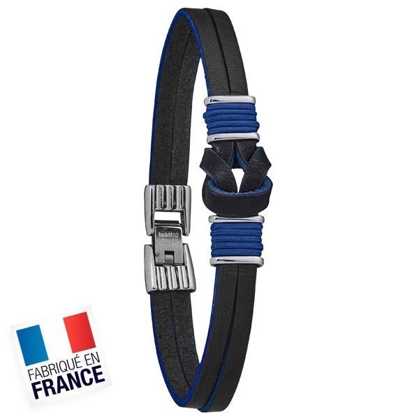 Bracelet Jourdan Homme - Acier et cuir bleu