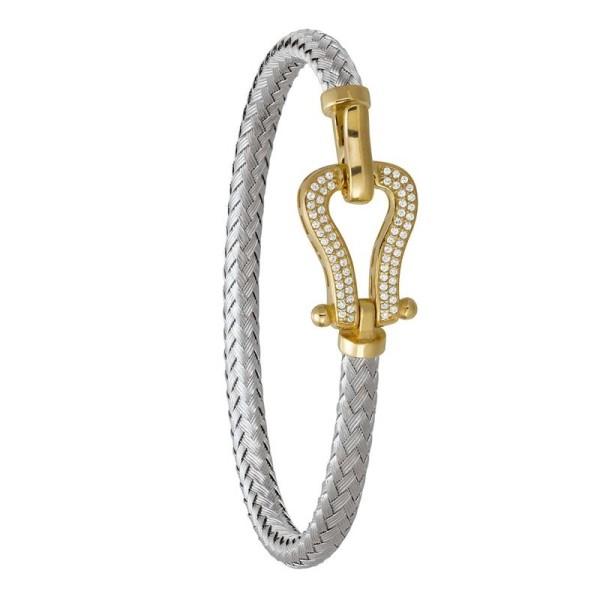 Bracelet Jourdan Lyre argent bicolore avec Oxyde de zirconium