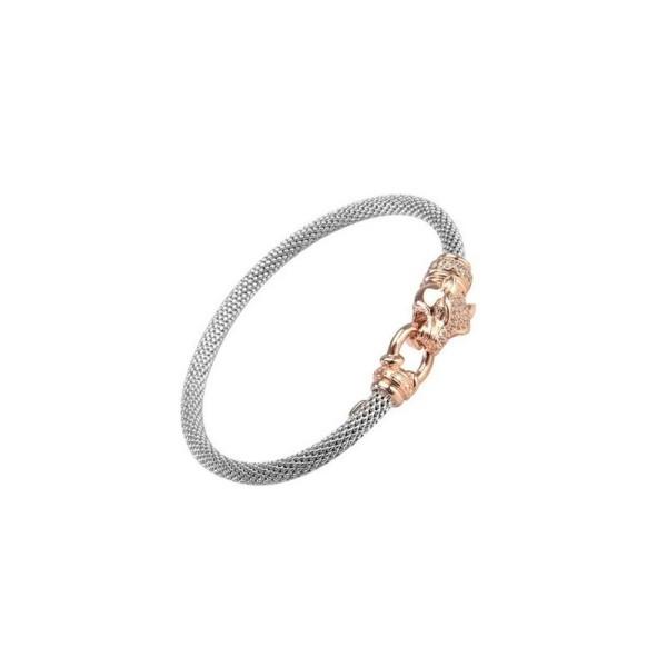 Bracelet Una Storia - Bracelet rigide Maille argent tressée argent et tête de tigre doré rosé