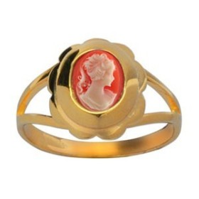 BAGUE5 CAMEE RESINE ROSE PLAQUE OR