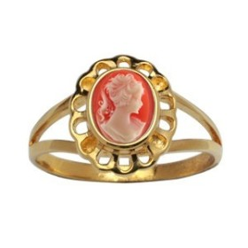 BAGUE CAMEE RESINE ROSE OVALE DENTELLE PLAQUE OR
