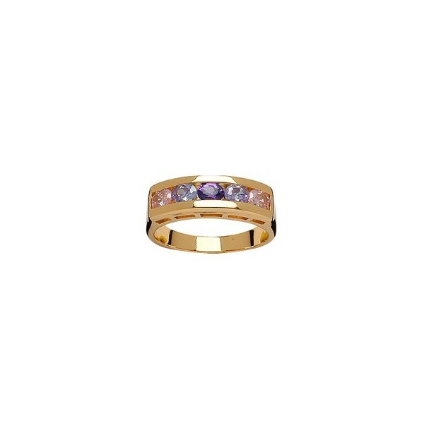 BAGUE 1/2 ALLIANCE SERTIE ROSE, BLANC, VIOLET, BLANC