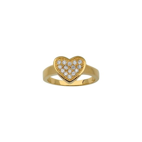 BAGUE PLAQUE OR COEUR STASS BLANCS