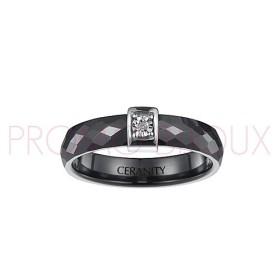 Bague Céramique et Diamant - Céramique Noir Facettée -