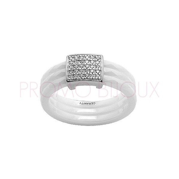 Bague Céramique Blanche - Facettée - 1 Tête Carré Argent/Oxydes