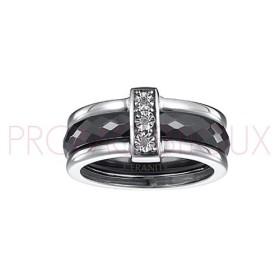 Bague Céramique et Diamants - Céramique Noir Facettée -
