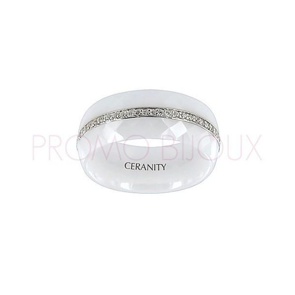 Bague en Céramique Blanche avec Oxydes de Zirconium -