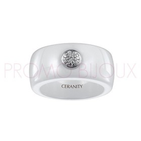 Bague Céramique Blanche - Lisse - Rond Argent/Oxydes -