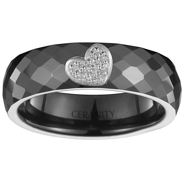 Bague Ceramique Noire Facettée, Coeur Plein Argent et Oxydes de Zirconium