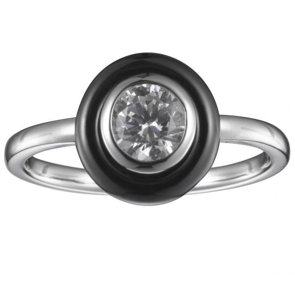 Bague Argent, Cercle Céramique Noire et Oxyde de Zirconium