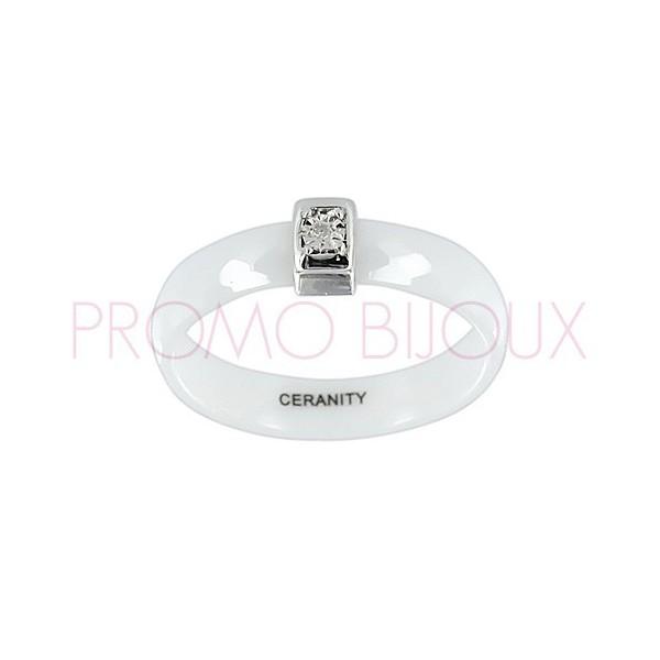 Bague Céramique et Diamant - Céramique Blanche -