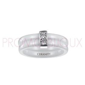 Bague Céramique et Diamants - Céramique Blanche -