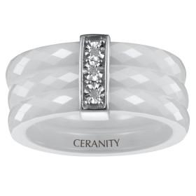 Bague trois Anneaux Ceramique blanche Facettée, Barrette Argent et Trois Diamants