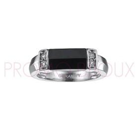 Bague Céramique et Diamants - Céramique Noire -