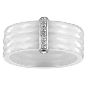 Bague quatre Anneaux Ceramique blanche Facettée, Barrette Argent et Trois Diamants