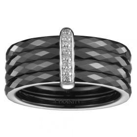 Bague quatre Anneaux Ceramique Noire Facettée, Barrette Argent et Trois Diamants