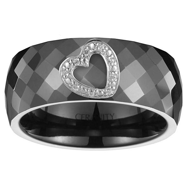 Bague Ceramique Noire Facettée, Coeur Ajouré Argent et Oxydes de Zirconium