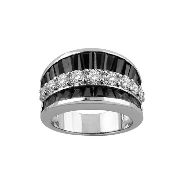 BAGUE ARGENT RHODIE INCURVEE 1 RANG PIERRES RONDES BLANCHES SYNTH ET 2 RANGS PIERRES RECT NOIRES SYNTH 065626N